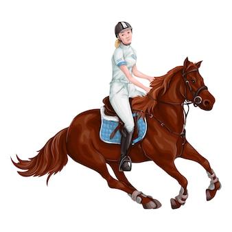 Vrouw, meisje paardrijden paarden vectorillustratie, geïsoleerd.