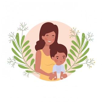Vrouw met baby avatar karakter