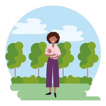 Vrouw met baby rond pictogram