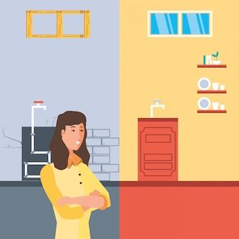 Vrouw met before and after huis in aanbouw