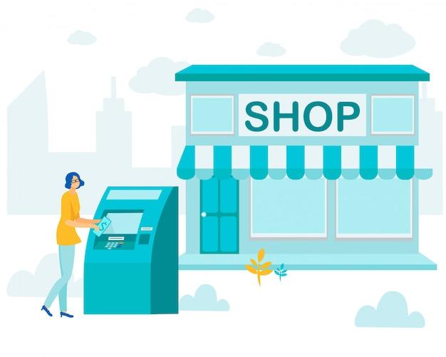 Vrouw met behulp van atm-services voordat winkelen cartoon