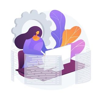 Vrouw met behulp van computer op het werk. beroepssecretaris, webontwikkelaar, freelancer ondernemer. freelance workflow, externe taak. werknemer stripfiguur. vector geïsoleerde concept metafoor illustratie