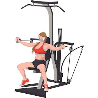 Vrouw met behulp van fitnessapparatuur voor het opbouwen van haar borst- en armspieren