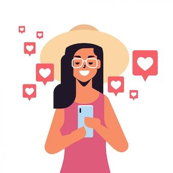 Vrouw met behulp van mobiele applicatie op smartphonemeldingen met likes volgers opmerkingen sociale media netwerk digitale verslaving concept portret