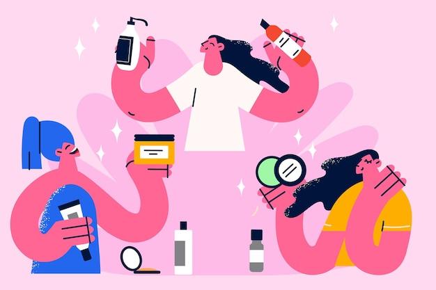 Vrouw met behulp van natuurlijke cosmetica concept. drie verschillende jonge vrouwen stripfiguren met behulp van huidverzorging en haarverzorging cosmetica behandeling vectorillustratie