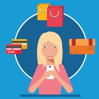 Vrouw met behulp van smartphone om te winkelen. mobiel handelsconcept.