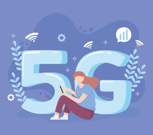 Vrouw met behulp van smartphonetechnologie draadloze verbinding 5g generatie illustratie