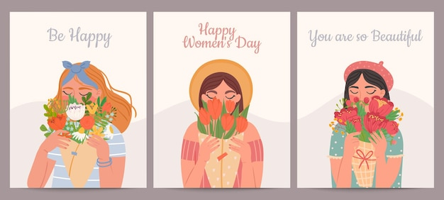 Vrouw met bloemboeket. fijne internationale vrouwendag, valentijnsdag en moederdag. schoonheid meisjes en lente boeketten vector kaartenset. illustratie jonge vrouw, vakantie moederdag kaart