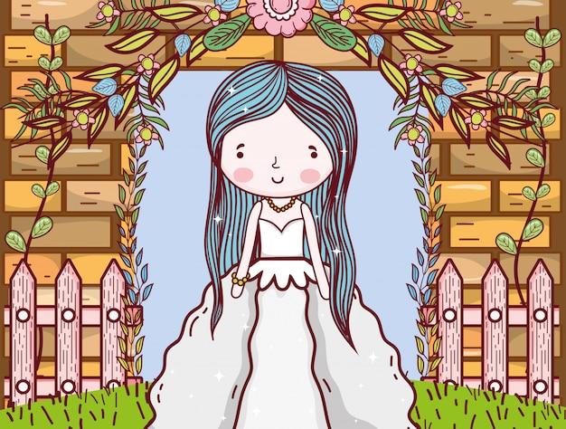 Vrouw met bloemen planten bladeren en hek