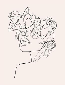 Vrouw met bloemenlijn. vrouwelijk gezicht met bloemen. moderne minimalistische eenvoudige lineaire stijl.