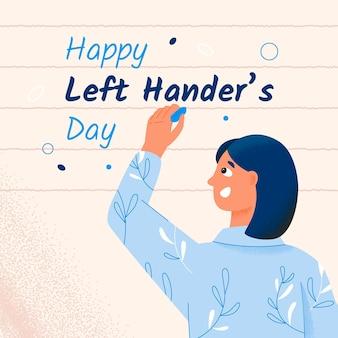Vrouw met bloemenoverhemd linkshandige dag