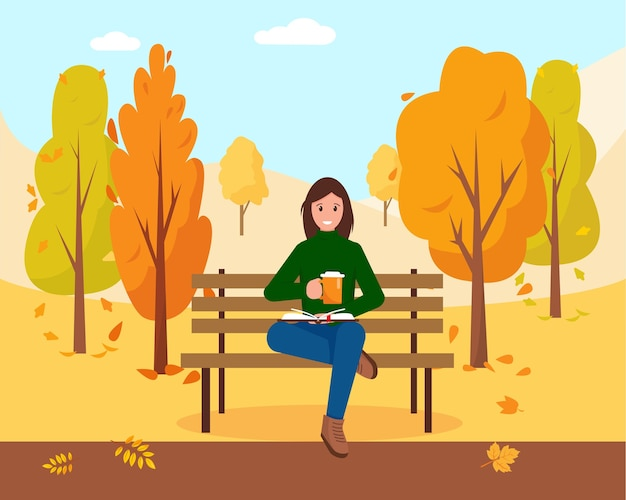 Vrouw met boek en pet van warme koffie of thee zittend op de bank in park. herfst stadspark achtergrond. illustratie.