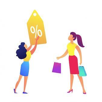 Vrouw met boodschappentassen en winkel korting tag vector illustratie.