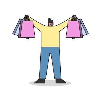 Vrouw met boodschappentassen gelukkig