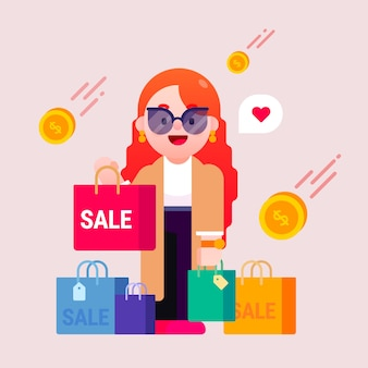 Vrouw met boodschappentassen in verkoopseizoen