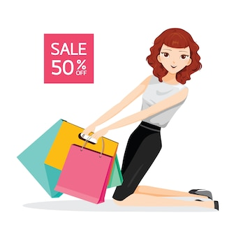 Vrouw met boodschappentassen, zittend op de vloer