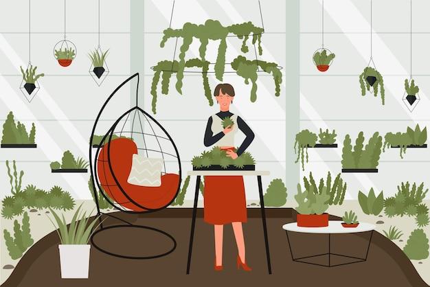 Vrouw met broeikasgassen hobby vectorillustratie. jonge vrouwelijke stripfiguur zorgt voor groene planten, gekke plant dame kamerplanten kweken in potten met eigen tuin in interieur appartementen