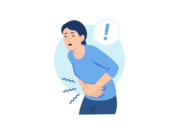 Vrouw met buikpijn menstruatie menstruatiepijn gerd pijn concept illustratie