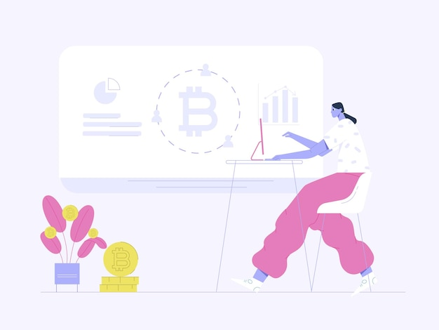 Vrouw met computer kijken naar bitcoin winst vlakke afbeelding