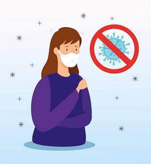 Vrouw met covid 19 en ademhalingsbescherming
