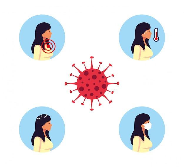 Vrouw met covid 19-het vectorontwerp van virussymptomen