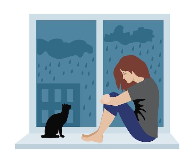 Vrouw met depressief denken cartoon ongelukkig meisje zittend op de vensterbank depressief meisje en kat