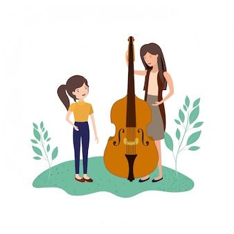 Vrouw met dochter en viool avatar karakter