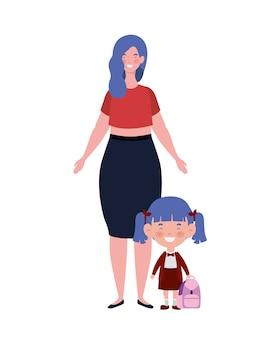 Vrouw met dochter van terug naar school