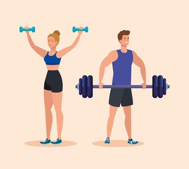 Vrouw met domorenactiviteit en man met gewicht