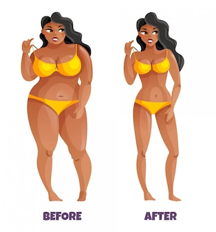 Vrouw met donkere huid en curvy haar in gele bikini voor en na het vermageringsdieet