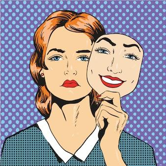Vrouw met droevige ongelukkige gezicht die masker valse glimlach houden. illustratie in komische retro pop-artstijl