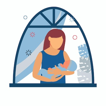 Vrouw met een baby in haar armen bij het raam. moederschap en zuigeling die borstvoeding geeft.
