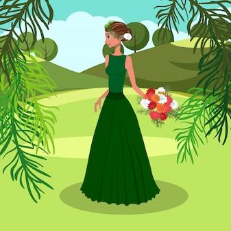 Vrouw met een bos van asters vectorillustratie.