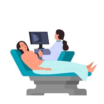 Vrouw met een diagnostische echografie-procedure voor borstkanker. idee van gezondheidszorg, medisch onderzoek, diagnostiek van oncologie. illustratie.
