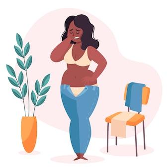 Vrouw met een lage illustratie van het gevoel van eigenwaarde