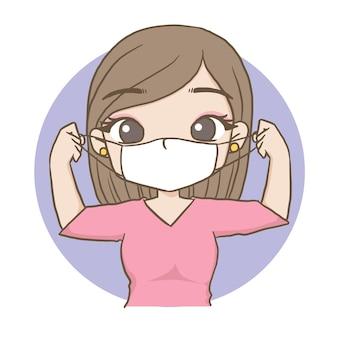 Vrouw met een masker schattig karakter cartoon model emotie illustratie clipart