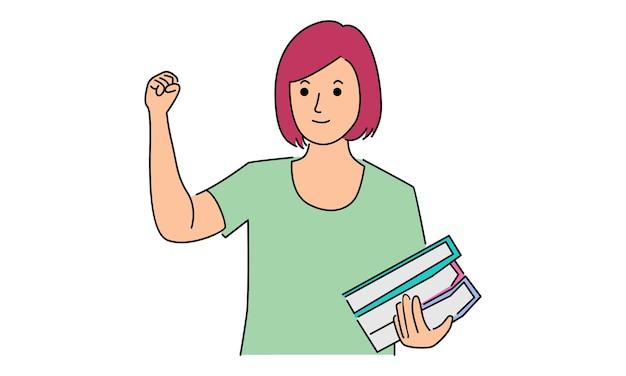 Vrouw met een stapel educatieve boeken in handen