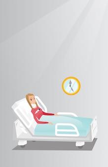 Vrouw met een vectorillustratie van de halsverwonding.
