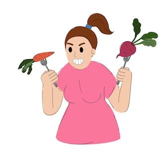 Vrouw met een vork met een groente voor gewichtsverlies meisje met wortelen en bieten vegetarisch