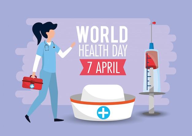 Vrouw met eerste hulp aan wereldgezondheidsdag
