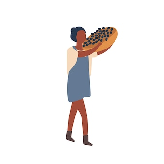 Vrouw met fruit oogst platte vectorillustratie. zomer en herfst oogst verzamelen. donkere huid vrouwelijke boer met mand met druiven stripfiguur. biologische bessen kopen ontwerpelement.