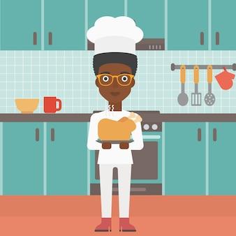 Vrouw met geroosterde kip.