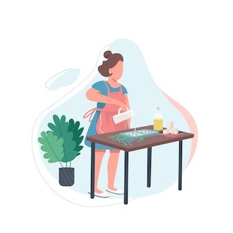 Vrouw met gesmolten zeep egale kleur gezichtsloos karakter. diy-recept. handgemaakt cosmetisch product. creatieve recreatie. ambachtsman geïsoleerde cartoon afbeelding voor web grafisch ontwerp en animatie