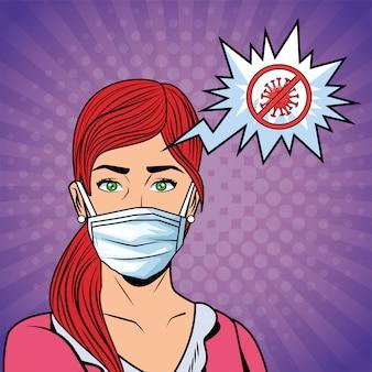 Vrouw met gezichtsmasker en stop covid19-bericht