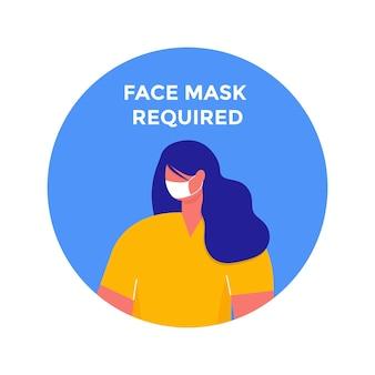 Vrouw met gezichtsmasker in afgerond frame. masker vereist waarschuwingspreventieteken in cirkel. geïsoleerde vector informatie afbeelding