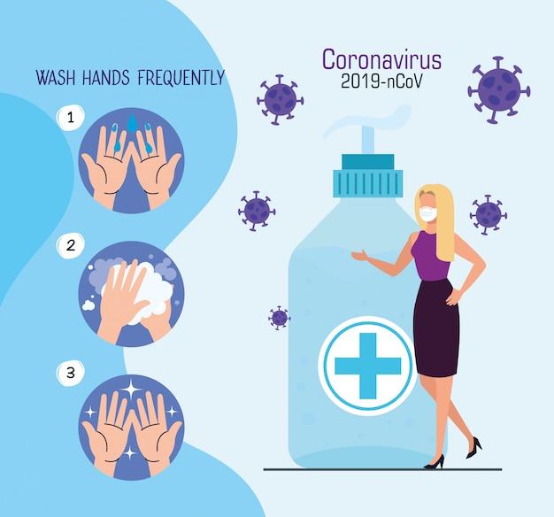 Vrouw met gezichtsmasker met antibacteriële fles en deeltjes 2019-ncov
