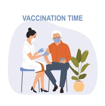 Vrouw met gezichtsmasker wordt ingeënt tegen covid-19 aan een oudere man. vector illustratie