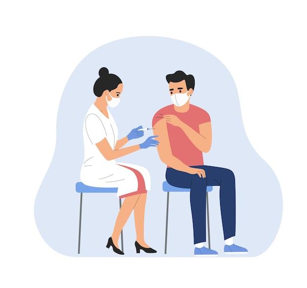 Vrouw met gezichtsmasker wordt ingeënt tegen covid-19. vector illustratie