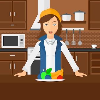 Vrouw met gezond voedsel.