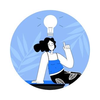 Vrouw met gloeilamp boven het hoofd in vlakke stijl. het idee-concept kwam. cartoon meisje denken